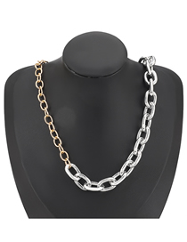 Fashion Gold And Silver Color Stitching Contrast Thick Chain Alloy Necklace