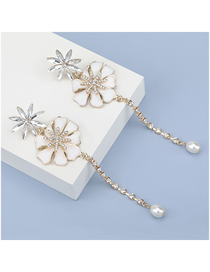 Fashion White Alloy Oil Drop Diamond Flower Long Earrings