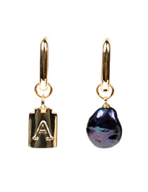 Fashion A Gold Color Asymmetric Pearl Letter Geometric Earrings