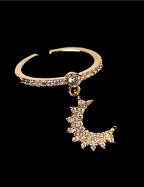 Fashion Gold Color Micro-set Crystal Diamond Star And Moon Opening Ring