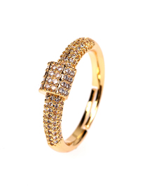 Fashion Gold Color Diamond And Gold-plated Copper Open Ring