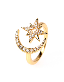 Fashion Gold Color Five-pointed Star And Crescent Ring With Diamonds