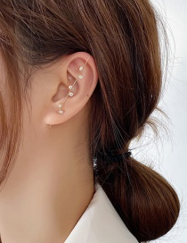 Fashion Staggered Left And Right Micro-inlaid Zircon Geometric Copper Pierced Earrings