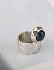 Fashion Silver Old Ring Inlaid With Round Wide Edges