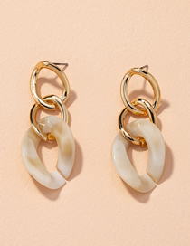 Fashion White Twisted Chain Acrylic Alloy Earrings