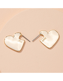 Fashion Golden Heart Notched Letters Alloy Earrings