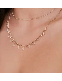 Fashion Golden Alloy Diamond Drop-shaped Double Layer Necklace
