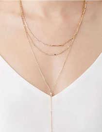 Fashion Golden Alloy Flower Coin Multilayer Necklace