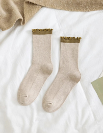 Fashion Beige Contrasting Color Socks With Wood Ears In The Tube Pile Pile Socks