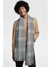 Fashion Gray Houndstooth Fringed Cashmere Scarf Shawl