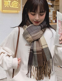 Fashion Coffee Color Check Cashmere Fringed Scarf Shawl