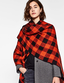 Fashion Red And Black Grid Check Cashmere Large Shawl Cloak