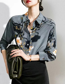 Fashion Blue Flowers Flower Print Lapel Loose-fitting Shirt