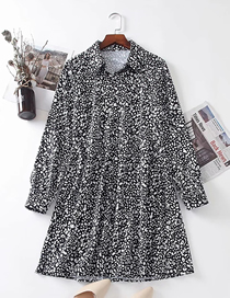 Fashion Animal Pattern Black Leopard Print Long Sleeve Dress