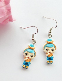 Fashion Ear Hook Blue Simulation Character Child Resin Alloy Earrings