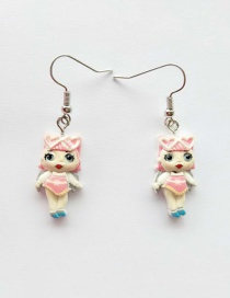 Fashion Ear Hook Pink Simulation Character Child Resin Alloy Earrings