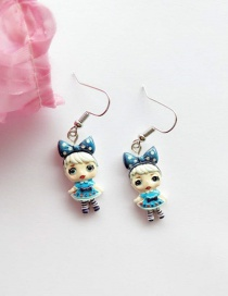 Fashion Ear Hook Royal Blue Simulation Character Child Resin Alloy Earrings