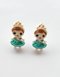 Fashion Earrings Green Simulation Character Child Resin Alloy Earrings