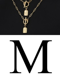 Fashion M Copper Inlaid Zircon Ring Pendant With 26 Letters Necklace