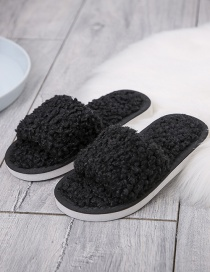 Fashion Black Childrens Lamb Wool Slippers With Flat Bottom