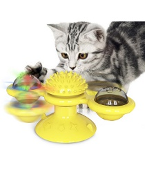 Fashion Yellow Spinning Windmill Cat Toy Scratching And Rubbing Hair Device