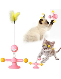 Fashion Pink Suction Cup Funny Cat Stick Spring Man Cat Toy