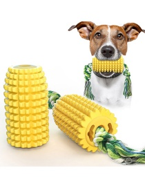 Fashion Yellow Corn Molar With Rope Dog Toy