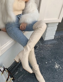 Fashion Apricot Square Toe Chunky Heel Solid Side Zip Boots