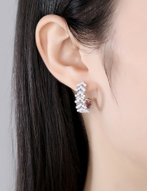Fashion Platinum Geometric Earrings With Zircon And Pearls