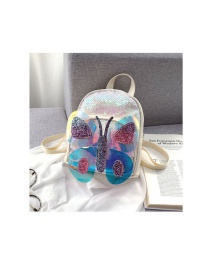 Fashion Silver Sequined Butterfly Contrast Color Kids Backpack