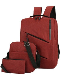 Fashion Red Wine Zipper Solid Color Three-piece Backpack
