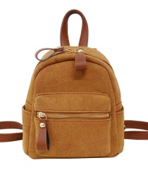 Fashion Light Brown Zip Solid Color Stone Pattern Backpack
