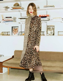Fashion Leopard Stitching Leopard Print And Contrast Print Belted Dress