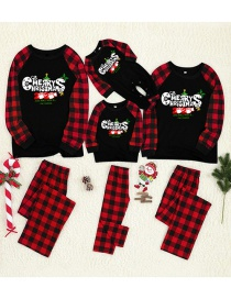 Fashion Dad Christmas Print Letter Check Parent-child Pajama Set