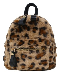 Fashion Leopard Lamb Hair And Leopard Print Backpack
