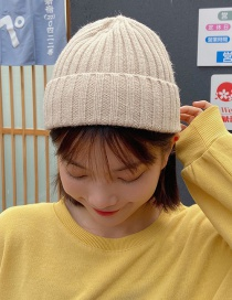 Fashion Beige Curled Solid Color Knitted Woolen Hat