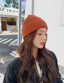 Fashion Caramel Colour Curled Solid Color Wool Knit Hat