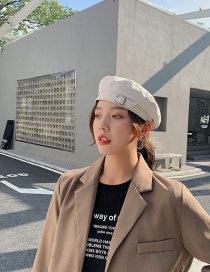 Fashion Off-white Solid Color Stitching Beret With Leather Buckle