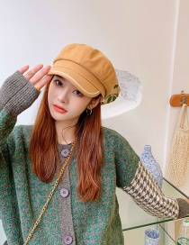 Fashion Khaki Woolen Solid Color Stitching Octagonal Hat