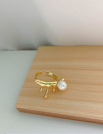Fashion Golden Metal Drop Lava Pearl Open Ring