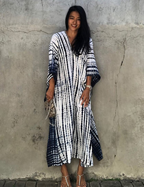 Fashion Black And White V-neck Stripe Smudge Long Skirt Blouse