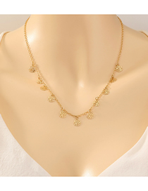 Fashion Golden Flower-shaped Tassel Hollow Single-layer Necklace