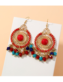 Fashion Red Disc Tassel Rice Beads Beaded Alloy Hollow Earrings