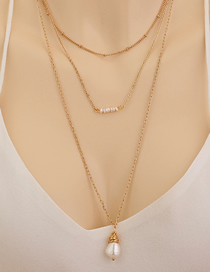 Fashion Golden Pearl Handmade Woven Geometric Multi-layer Necklace