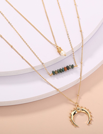 Fashion Golden Hand-woven Pearl Horn Multilayer Necklace