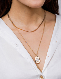 Fashion Rose Gold Pearl Geometric Alloy Multilayer Necklace