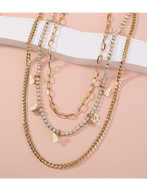 Fashion Golden Butterfly Diamond Alloy Multilayer Necklace