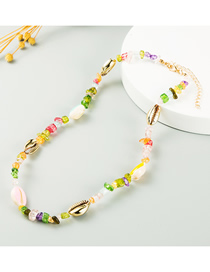 Fashion Color Resin Shell Contrast Geometric Necklace