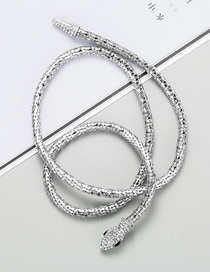 Fashion Silver Snake-shaped Hollow Chain Alloy Diamond Necklace