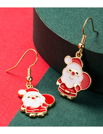 Fashion Red Christmas Old Man Alloy Drip Earrings